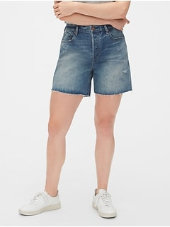 Mid Rise Distressed Boyfriend Shorts