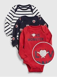 Baby Love Monster Bodysuit (3-Pack)