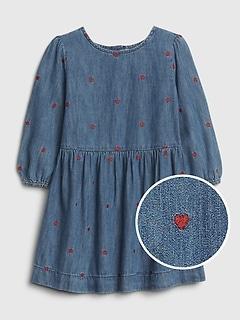 Toddler Heart Denim Dress