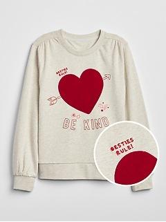Kids Heart Balloon-Sleeve Top