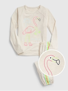 Kids Flamingo Jogger PJ Set