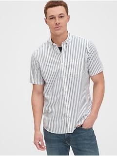 Chemise en popeline extensible d'aspect usé à manches courtes, coupe standard