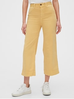 High Rise Wide-Leg Crop Khakis