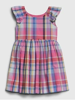 Toddler Plaid Flutter Dress