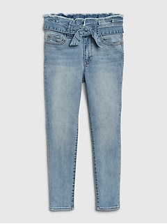 Kids High Rise Tie-Belt Jeggings with Stretch