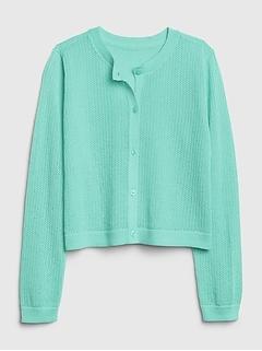 Kids Eyelet Cardi Sweater
