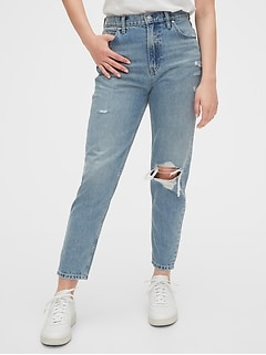 High Rise Destructed Mom Jeans