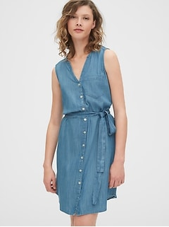 Sleeveless Shirtdress in TENCEL™
