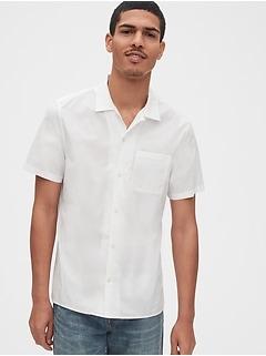 Chemise en popeline extensible d'aspect usé à manches courtes
