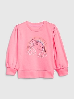 Toddler Embroidered Balloon-Sleeve Sweatshirt