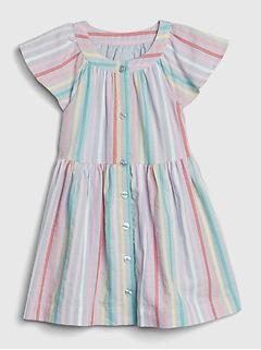 Toddler Stripe Flutter Shirtdress