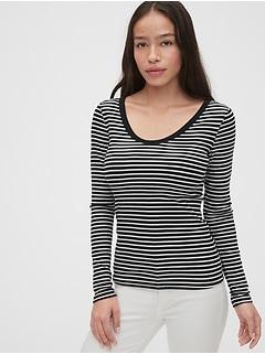 Stripe Scoopneck T-Shirt
