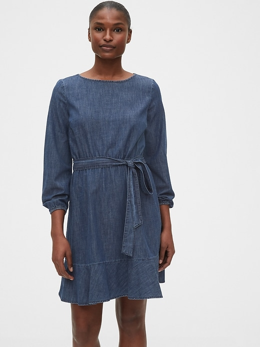 Tie-Belt Mini Denim Dress