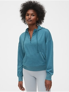 GapFit Half-Zip Pullover Sweatshirt in Brushed Jersey