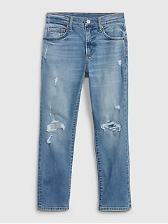 Kids Destructed Athletic Taper Jeans with Stretch