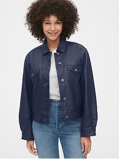 Crop Leather Icon Jacket