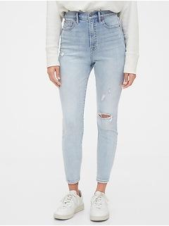 Sky High Destructed True Skinny Ankle Jeans