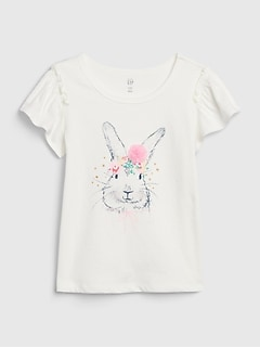 Toddler Bunny Graphic Flutter T-Shirt