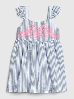 Baby Embroidered Seersucker Dress