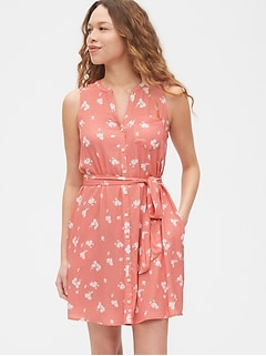 Sleeveless Printed Shirtdress