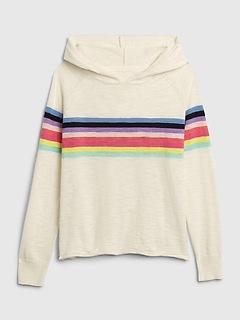 Kids Chest-Stripe Hoodie Sweater
