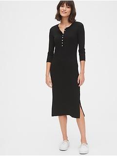 Ribbed Henley Midi Dress