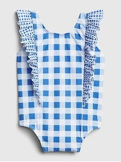 Baby Gingham Ruffle Swim One-Piece