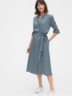 Button Front Midi Shirtdress in TENCEL™