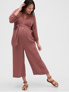 Maternity Wide-Leg Crop Romper