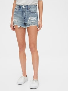 High Rise Destructed Cheeky Shorts
