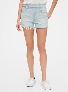 High Rise Curvy Cheeky Shorts with Raw Hem