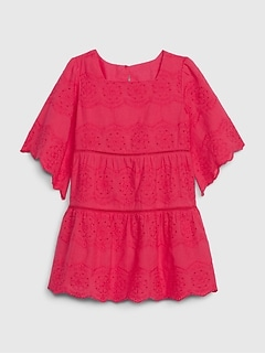 Toddler Drop Waist Eyelet Dress