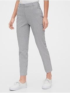 High Rise Slim Ankle Seersucker Pants