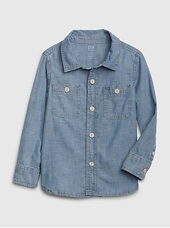 Toddler Long Sleeve Chambray Shirt