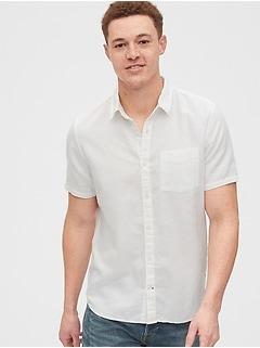 Chemise en lin et en coton à manches courtes, coupe standard