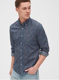 Chemise en popeline extensible d'aspect usé à hors du pantalon