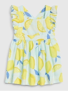 Baby Lemon Print Apron Dress