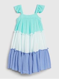 Toddler Three-Tiered Blue Dress