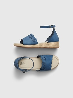 Chambray Eyelet Espadrille Sandals