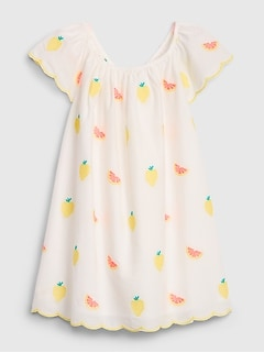 Toddler Fruit Flutter Embroidered Dress