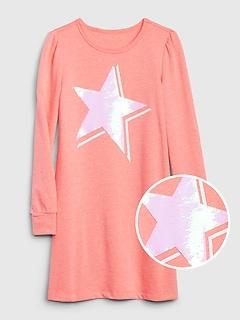 Kids Flippy Sequin Graphic Dress