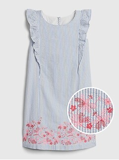 Kids Ruffle Floral Stripe Dress