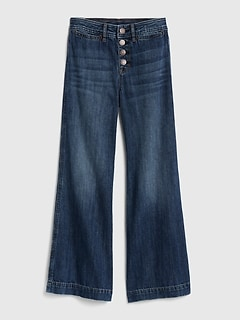 Kids Organic Cotton High Rise Wide-Leg Jeans