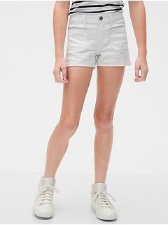 Kids Patch-Pocket Denim Shortie Shorts