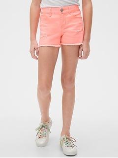 Kids Destructed Denim Shortie Shorts