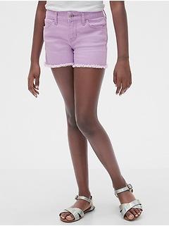 Kids Raw-Hem Denim Shortie Shorts
