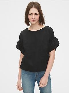Linen-Cotton Pintuck Sleeve Top