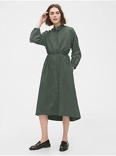 Three-Quarter Sleeve Midi Shirtdress