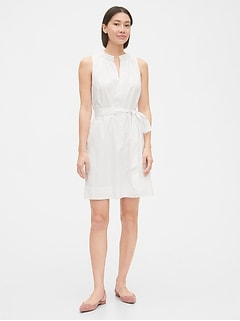 Ruffle-Neck Shirtdress in Poplin