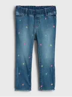 Toddler Embroidered Jeggings with Stretch